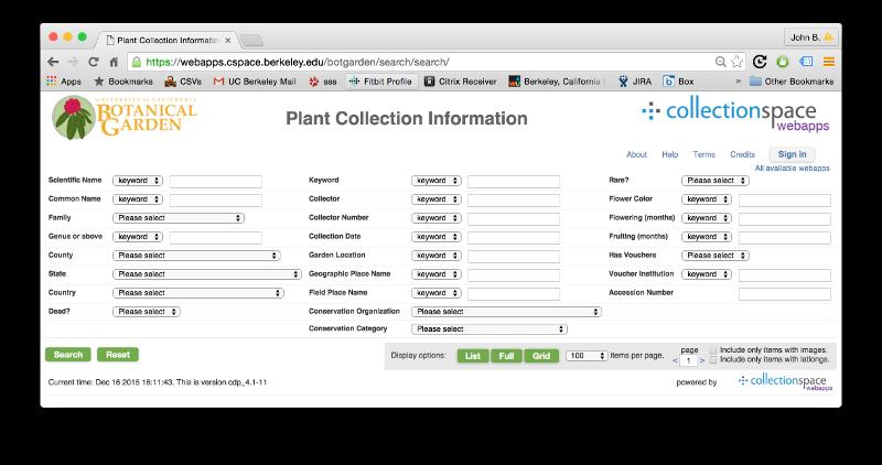 UC Botanical Garden search portal (800 px width)