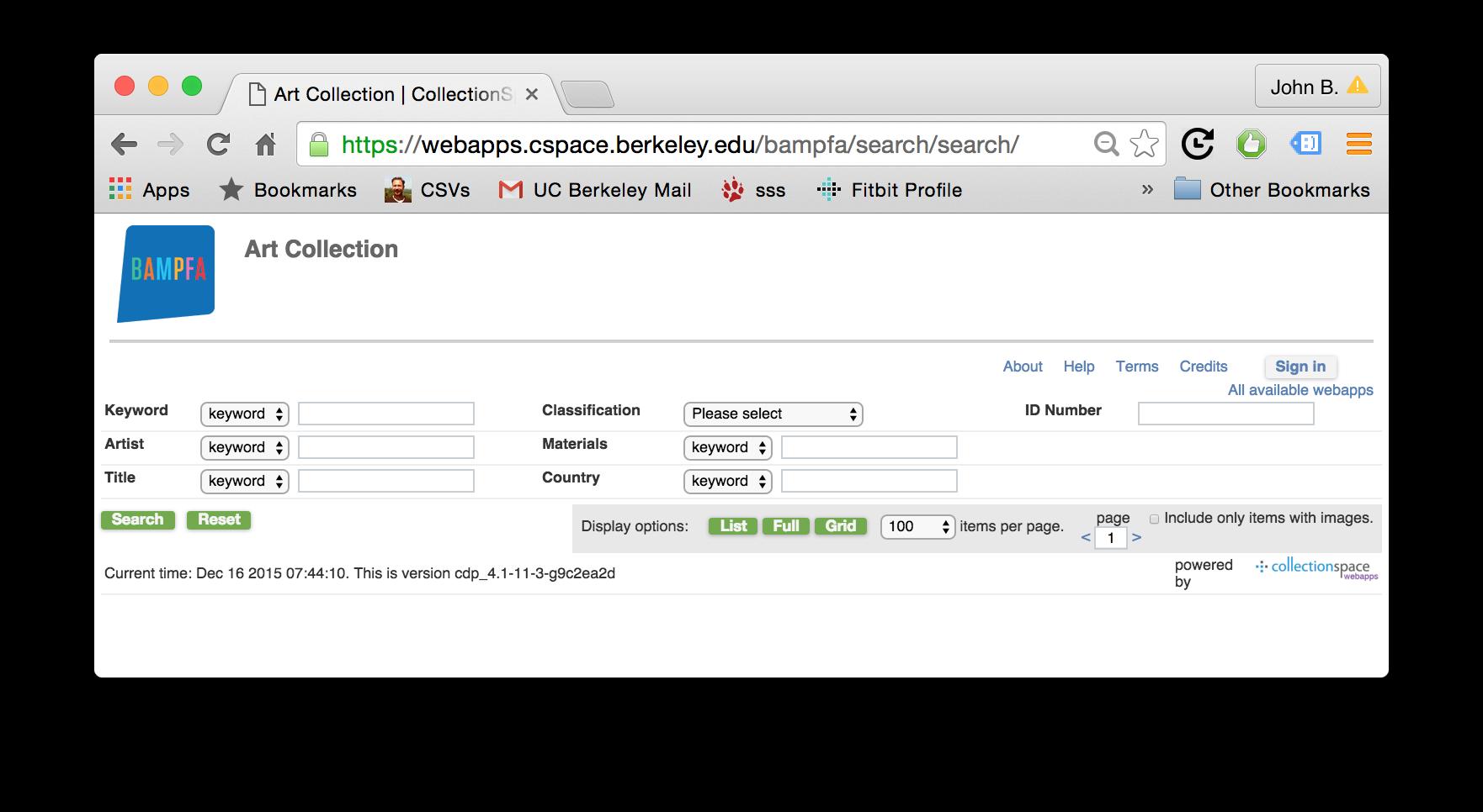 BAMPFA search portal screenshot
