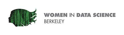 """Matrix silhouette of a woman's face placed on the left of the text, """"Women in Data Science Berkeley."""""""